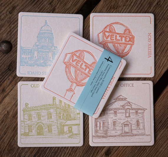 BOISE 2 Coasters, (Letterpress printed, 3.5 inches) set of 4, perfect gift by ladybugpress