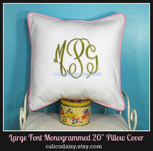 Large Font Monogram Euro Sham Pillow Cover – 20 x 20 square by calicodaisy