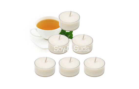 Soy Tea Lights, Soy Candles, WHITE TEA & GINGER, Dye Free, T Lites, 6 Pack, White Candles, Anytime Candles, soyNsuds, Made in Wisconsin by soyNsuds
