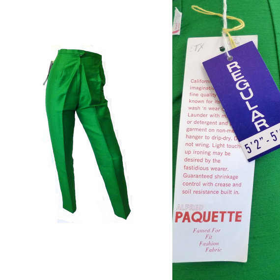 Bright Green Cigarette Pants, New Old Stock with Tags, Vintage 1960s Size XS 24 inch waist x 29 inch inseam by BlackRockVintage