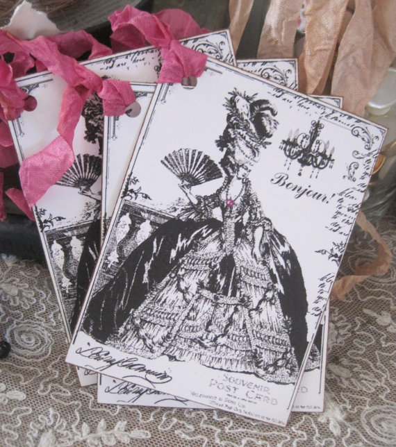 NEW french market marie antoinette bonjour tags set of 4 by OkioBDesigns