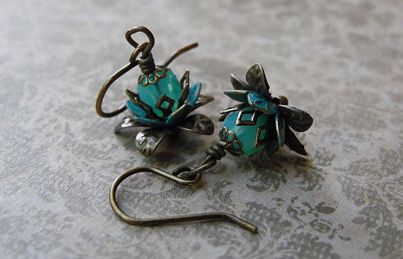 Lotus Blossom Earrings with Aqua Opal Czech Glass and Antiqued Brass by AFineDistraction