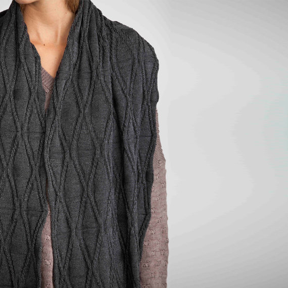 Grey shawl scarf, Chunky knit scarf, Infinity scarf, knitted scarf, gray knitted scarf, diamond grey scarf, long scarf, unisex scarf by AndyVeEirn