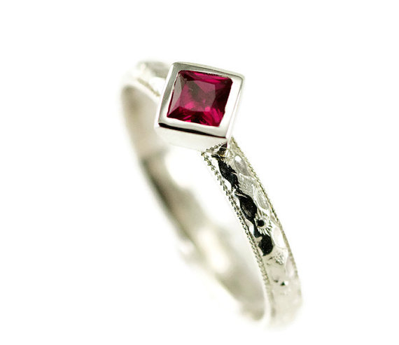 Princess Cut Ruby Stack Ring – Peridot Sterling Ring – Choose Your 4mm Gemstone by PPennee