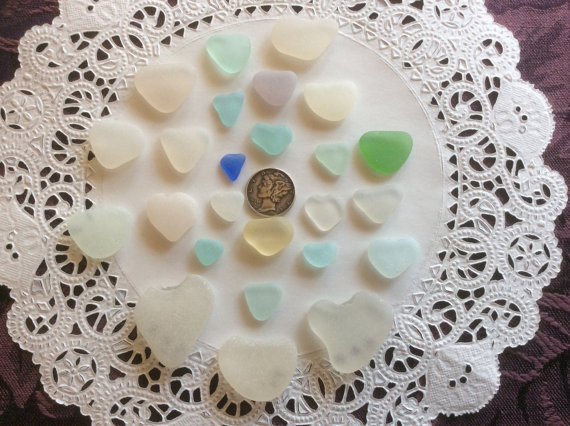 25 Hearts Aqua Blue Genuine Sea Glass H-J7-E by sealestialseaglass
