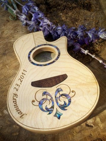 Guitar Pick Box, Inlaid custom wood acoustic guitar shape box by iTagStudios