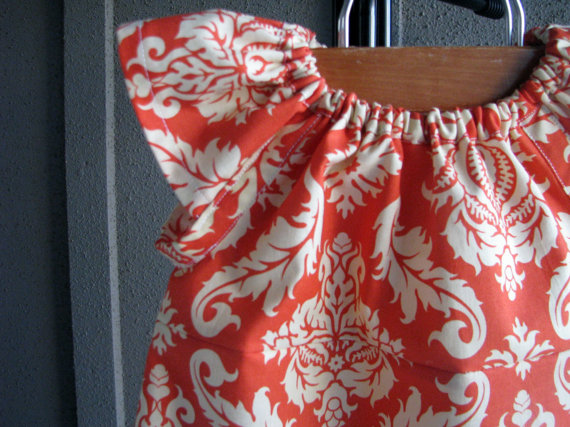 Dress – Easter damask coral orange girl baby toddler 0-3, 3-6, 6-12, 12-18, 18-24, 2t, 3t, 4t, 5T July 6th birthday Spring photoshoot by redpajamas
