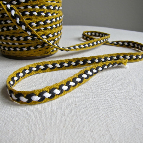 Vintage Cotton Trim Braided Gimp Tape Ribbon Black White Gold Mustard Yardage – Last 2 Yards by BarkingSandsVintage