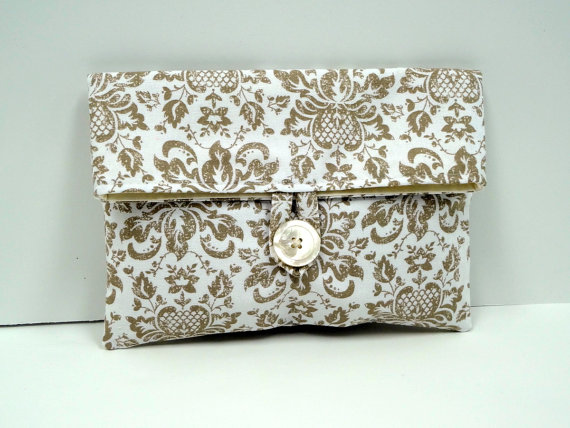 READY TO SHIP // Neutral Bridesmaid Clutch Ivory and Tan Damask Makeup Bag by BagsByLora