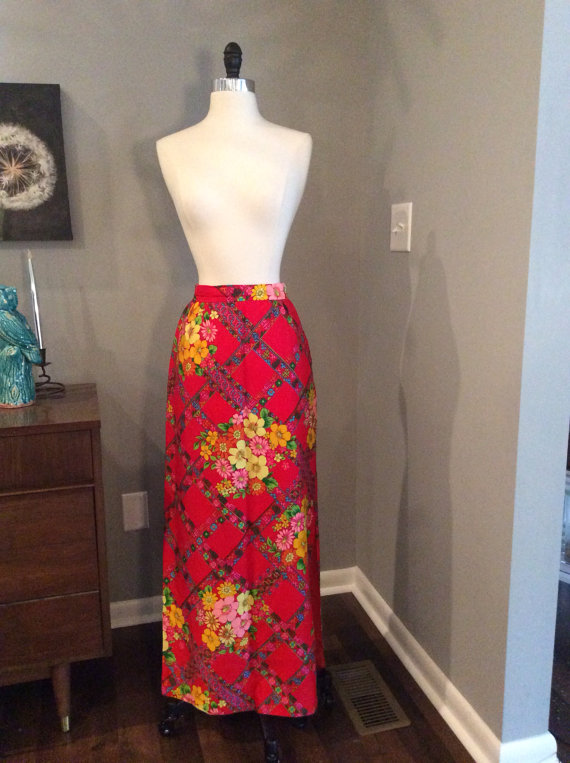 Vintage 1970s 70s Maxi Skirt – Alex Colman – red floral print – Hippie – Boho – Fall Winter Fashion by HaywoodCreekVintage