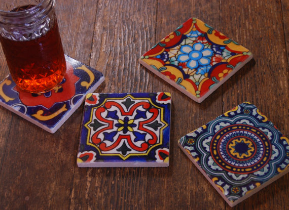Stone coasters – Mexican tile design by thepaintedlily
