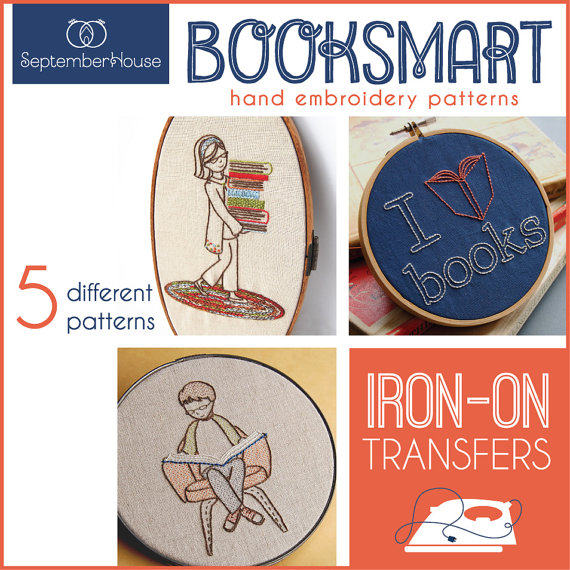 Embroidery Patterns Iron On Transfer Booksmart patterns for hand embroidery, Back to School, Dorm Decor, DIY, Modern embroidery patterns by SeptemberHouse