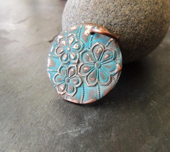 Large Copper Pendant, Flower Pattern, Green Patina, Verdigris, Handmade Copper Metal Clay Pendant, 16 Gauge Copper Ring, Artisan Handmade by dzstash