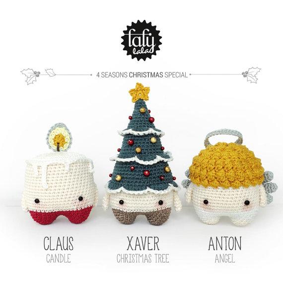 4 seasons: CHRISTMAS Xmas (candle, christmas tree, angel) • lalylala crochet pattern / amigurumi by lalylala