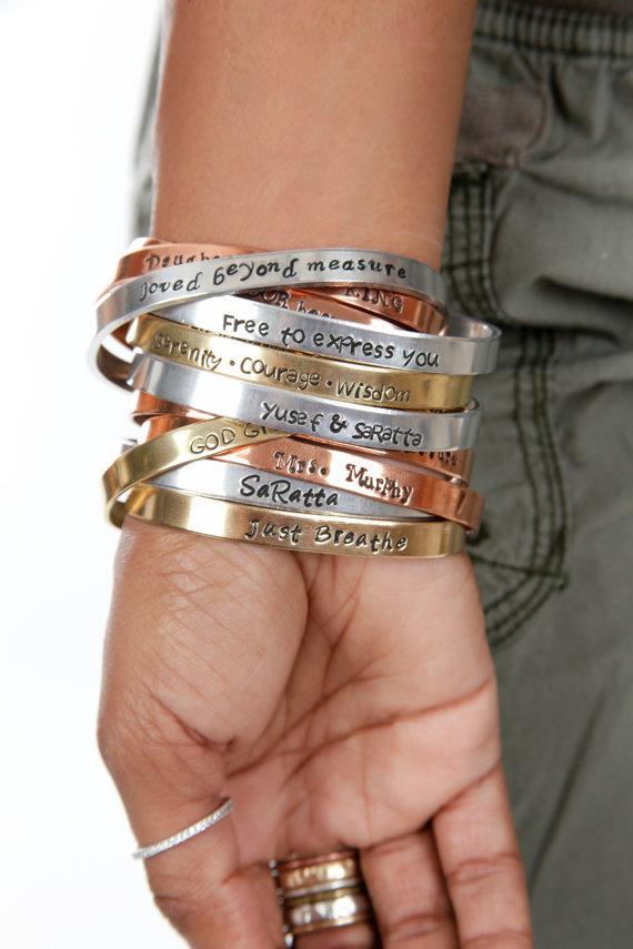 FLASH SALE Hand Stamped Jewelry – Mantra Bracelet – Custom Bracelet – Personalize Engraved Cuff – Expressions Bracelets by ExpressionsBracelets
