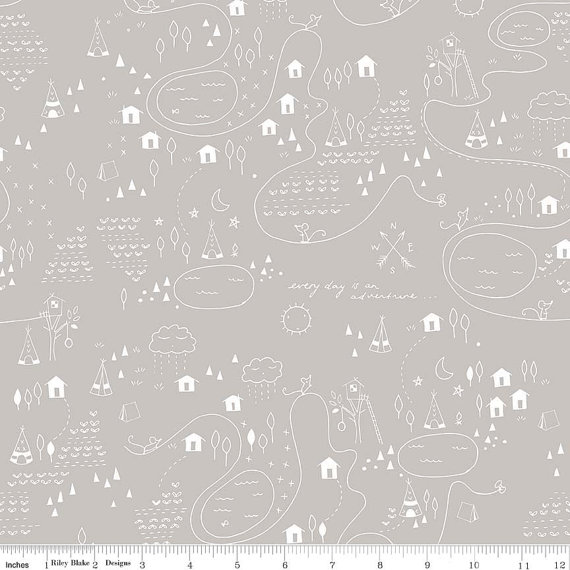 Greatest Adventure Cottons C2143-Gray, Riley Blake Designs, Teepee Fabric, Everyday is an Adventure, Quilting Cotton by mylittlemookie