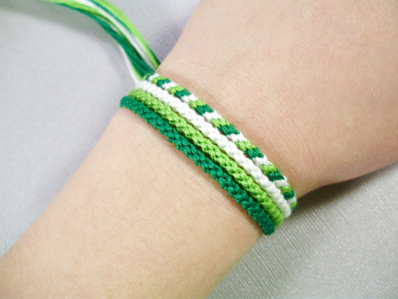 Spring Green Friendship Bracelet Set – Four Handmade Bracelets in White and Shades of Green by QuietMischief