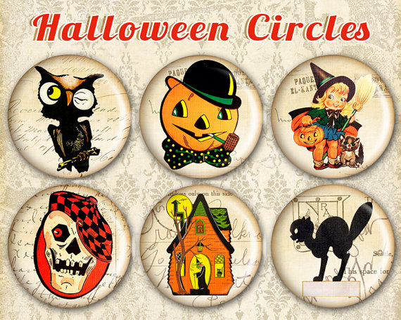 Halloween 1 inch & 1.5 inch circles on Printable Digital collage sheet Halloween prints for jewelry making bottle caps – HALLOWEEN CIRCLES by FrezeArt
