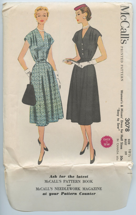 1950s Day or Evening Dress V Neck Gored Skirt Cap Sleeves McCalls 3078 Vintage Sewing Pattern Bust 39 by GreyDogVintage