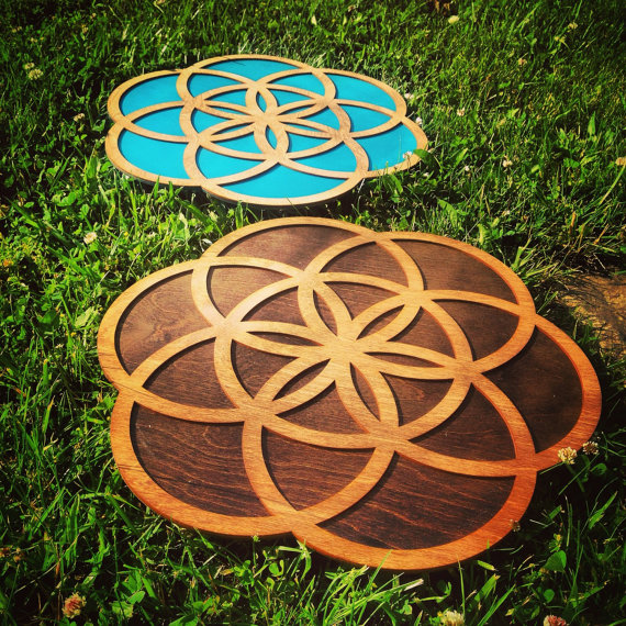 Large 18 & quot; Two Tone Wood Flower of Life Wall Art by WoodWearbyandrea