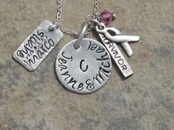 """Hand Stamped Breast Cancer Survior Charm Jewelry """"Family of Strength"""" Necklace Sterling Silver Handmade by HammeredLoveLetters"""