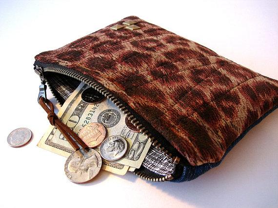 Coin Purse Medium Zipper Card Pouch Leopard Print and Vintage Denim by dishhandbags