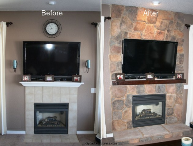 Fireplace Remodel With Stone  DIY Dad