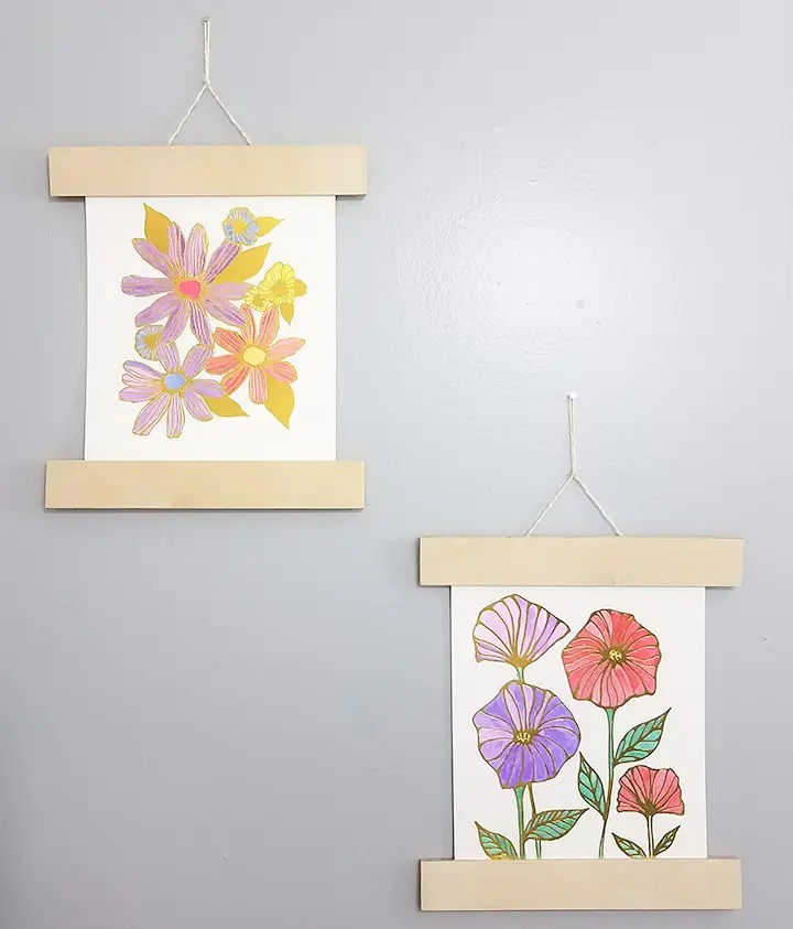 Watercolor Painting With Hanging Wood Frame