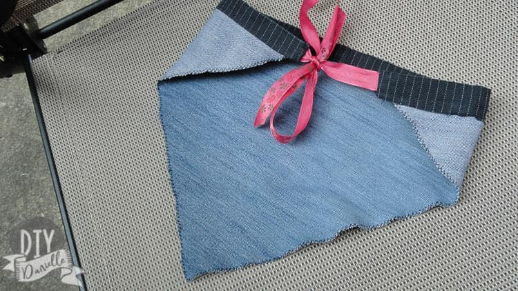 How to make an easy denim kerchief using upcycled pants.