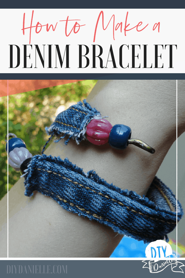 This easy jean upcycle project was FAST. Learn how to make this denim bracelet and arm band!