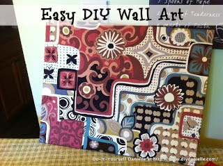 Easy wall art using canvas and fabric.