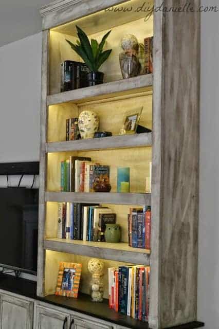 Close up of our lighted built-in bookshelves.