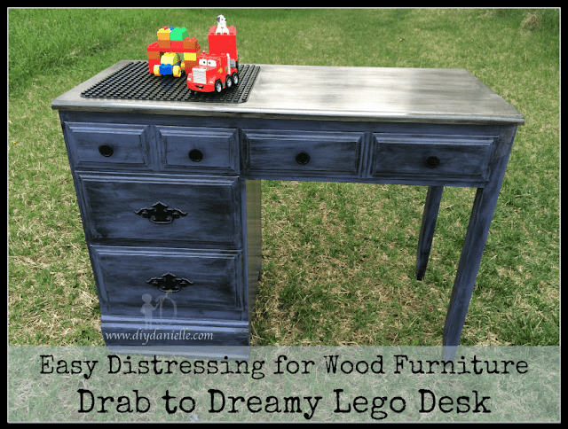 How to distress wood furniture in order to create a fabulous lego or duplo desk for your child.