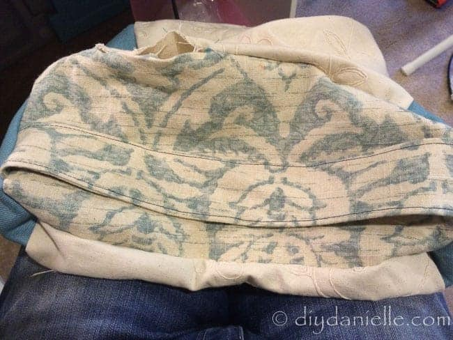 DIY Yoga bolster pillow before being filled with stuffing.
