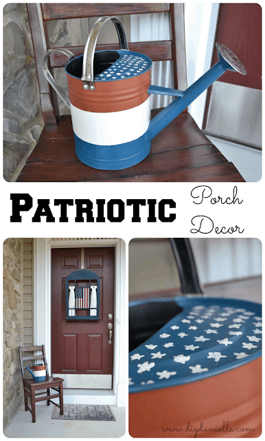 How to upcycle a watering can into Patriotic porch decor.