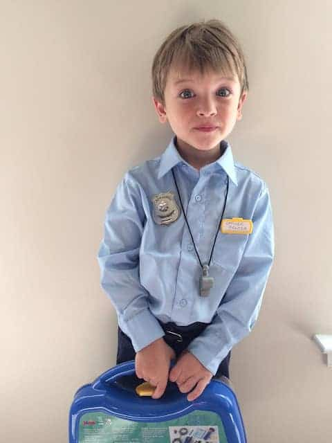 Tip for Keeping Halloween Simple and Easy: Finish your costumes EARLY. This easy DIY police officer costume was done in September. #ad #Treats4All #CollectiveBias