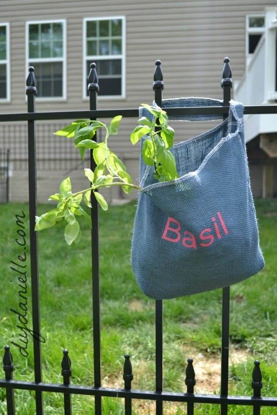 Gorgeous Hanging Herb Bags for the Garden Fence!
