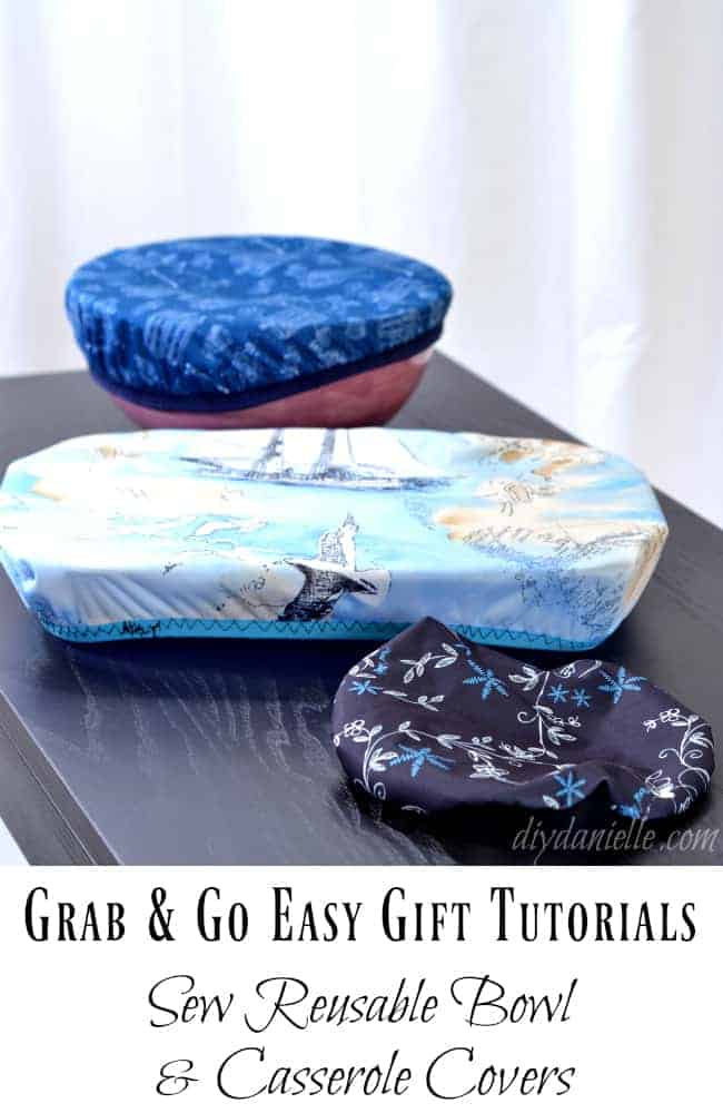 Sew fabric bowl and casserole covers.