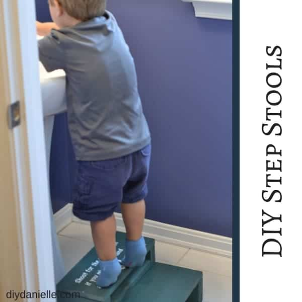 These DIY step stools are great for helping kids reach the sink. Learn how to make one with scrap wood!