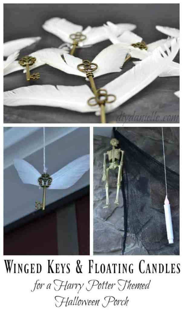 Easy Winged Keys and Floating Candles for a Magical Porch Idea