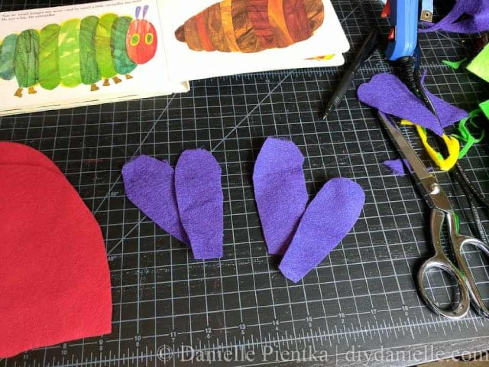 Cut outs for the antennas for the Hungry Caterpillar.