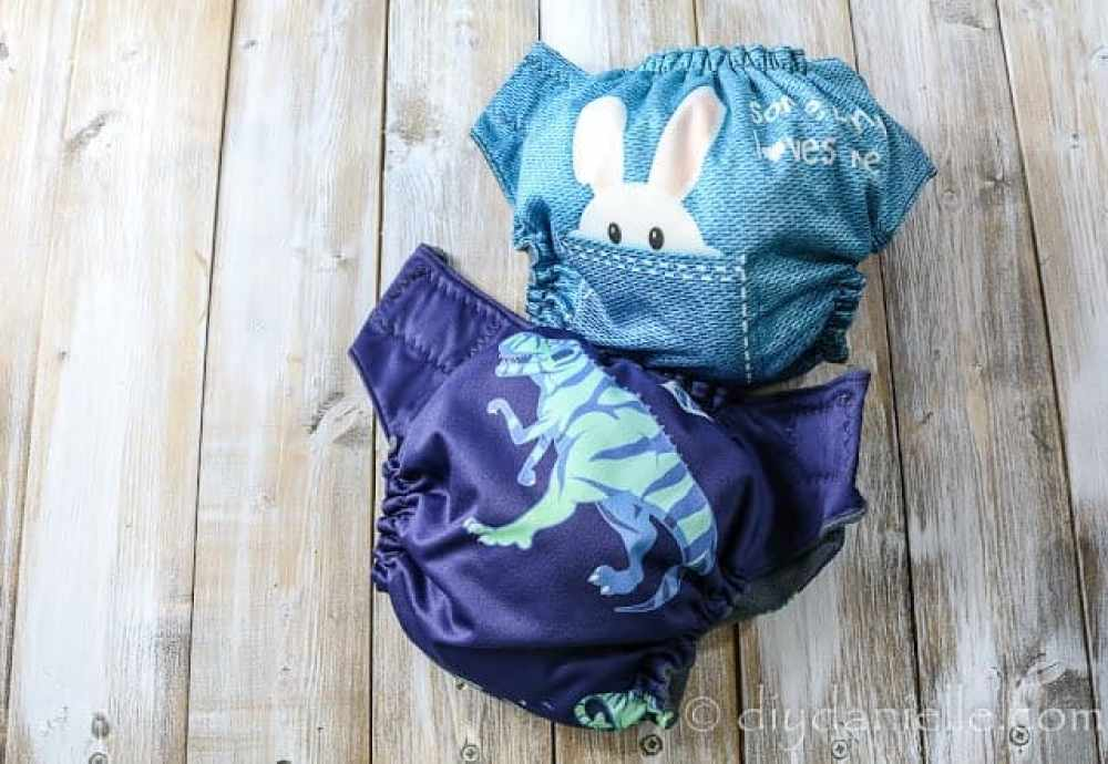 Cute cloth diapers from a homemade CD stash.