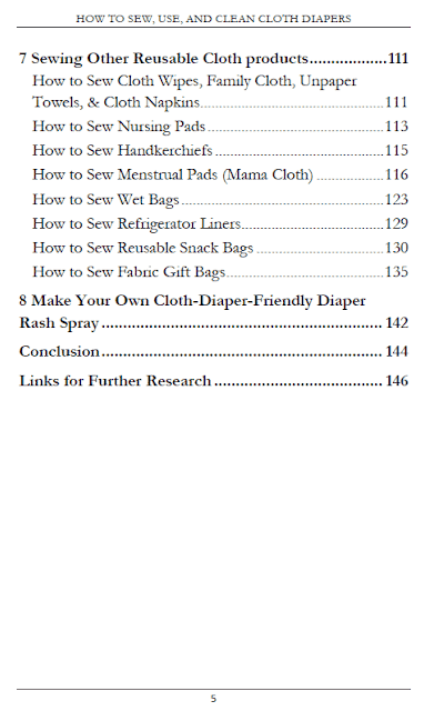 "Table of Contents for ""How to Sew, Use, and Clean Cloth Diapers"""