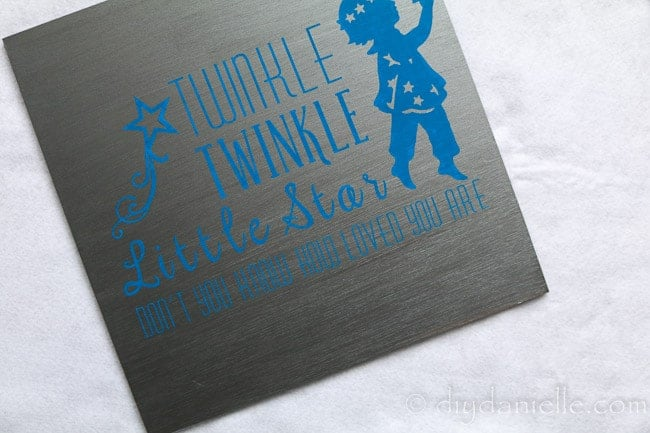 Baby nursery sign: Twinkle twinkle little star, don't you know how loved you are. Made with a Cricut machine and viny.