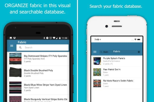 Organizing fabric with a phone app called Sew Organized
