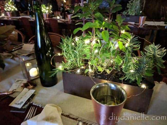 Wedding reception centerpiece idea with herbs.