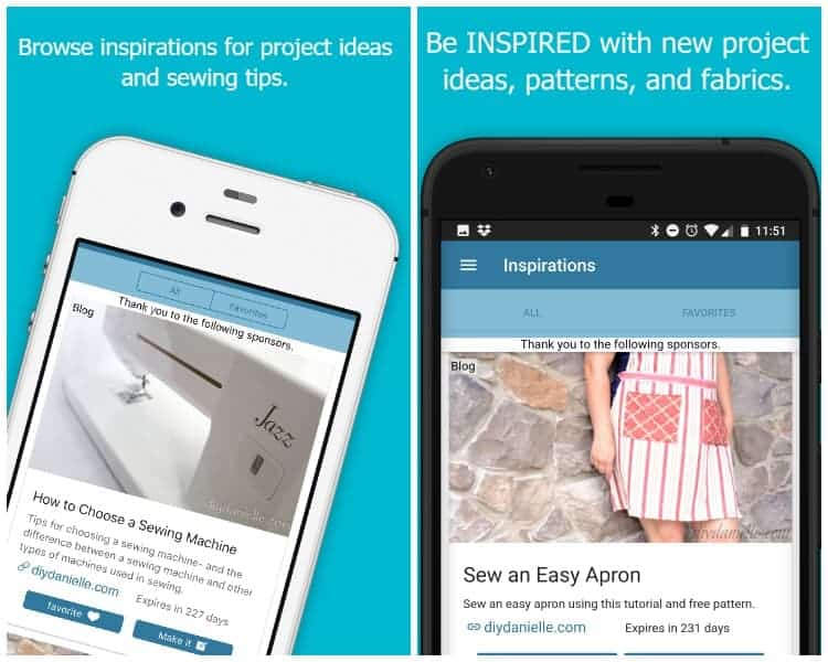 Inspirations section of the sewing app includes ideas for projects, fabrics, and patterns.
