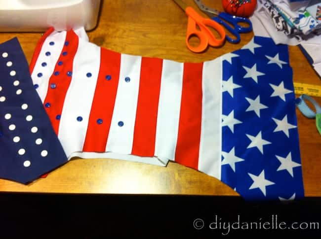 Top stitched patchwork 4th of July diaper using PUL.