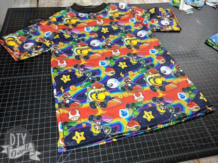 Boys Rashguard Top for Swimming- handmade with Mario Kart swim fabric.