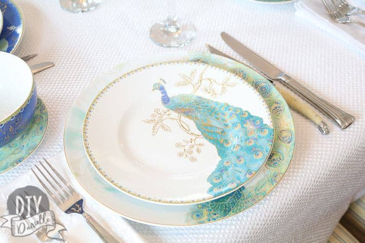 222 Fifth Peacock Garden Dinnerware Set and coordinating tablescape.